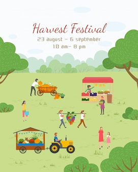 Postal del festival de la cosecha, feria del vector de alimentos