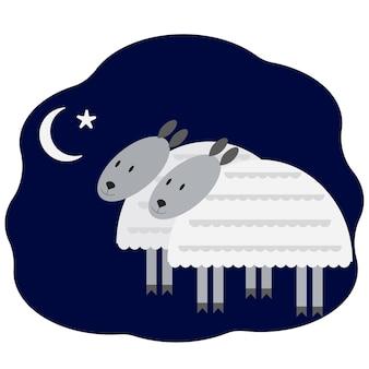 Postal para fiesta musulmana con corderos, luna y estrella. ilustración vectorial
