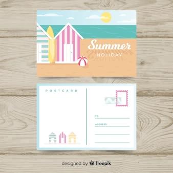 Postal flat de vacaciones de verano