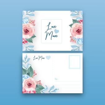 Postal floral encantadora del estilo del vintage con la ilustración de color entonada caliente.