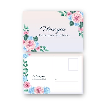 Postal floral encantadora con rosa, ilustración acuarela hortensia.
