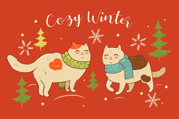 Postal con gatos en bufandas y la inscripción invierno acogedor.
