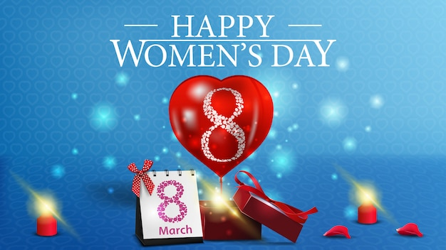 Postal horizontal de felicitación azul al día de la mujer.