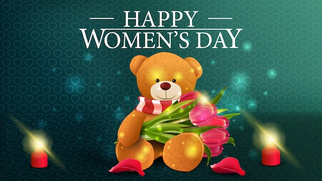 Postal horizontal de felicitación verde para el día de la mujer.