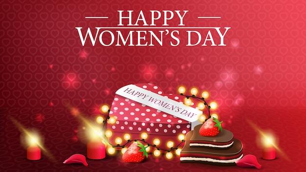 Postal horizontal roja al día de la mujer.