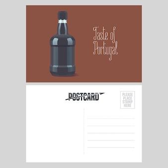 Postal de la ilustración de portugal con una botella de vino de oporto