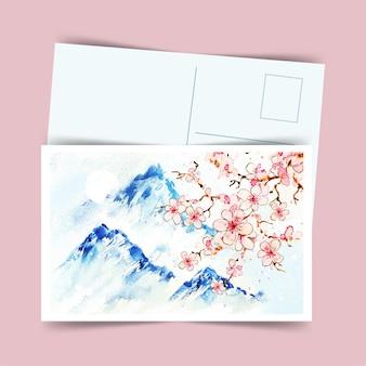 Postal japonesa sakura y montañas