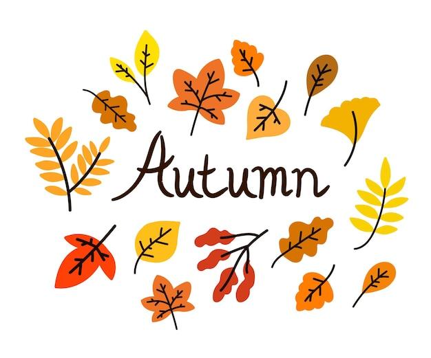 Postal de letras otoñales con hojas planas