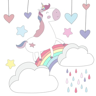 Postal linda del unicornio