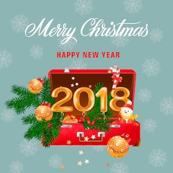 Postal de navidad y año nuevo