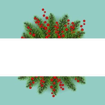 Postal de navidad con bayas de acebo de navidad