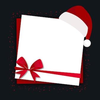 Postal de navidad en blanco con sombrero de santa claus y lazo rojo