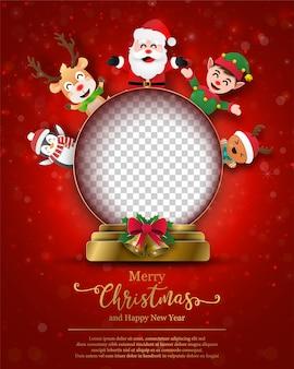 Postal de navidad de espacio en blanco en bola de navidad