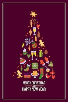 Postal de navidad con forma de árbol de navidad de elementos de vacaciones de invierno sobre fondo oscuro. ilustración festiva de año nuevo 2021 con bastón de caramelo, pan de jengibre, guantes, cajas de regalo. postal navideña de noel