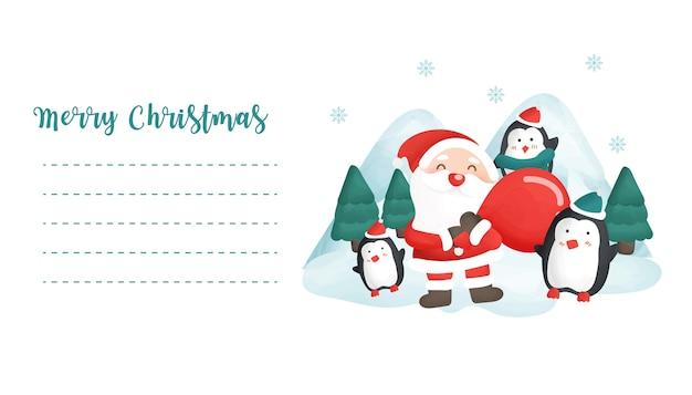 Postal de navidad con una linda papá noel y lindos pingüinos en el bosque nevado para tarjeta de felicitación.