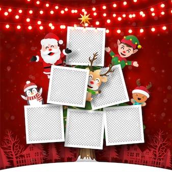 Postal de navidad de marco de fotos en el árbol de navidad con santa claus y amigos