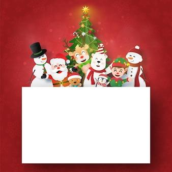 Postal de navidad de santa claus y amigos con espacio de copia