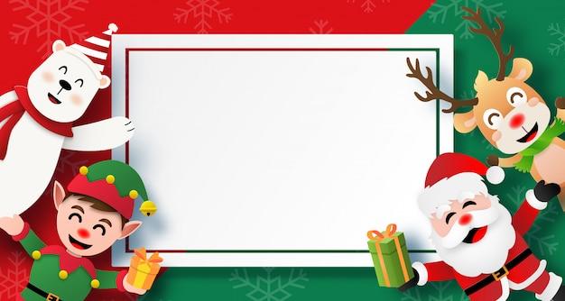 Postal de navidad con santa claus y amigos