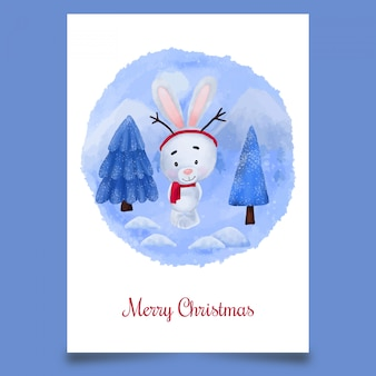 Postal navideña con lindo conejito