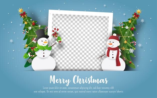 Postal navideña con muñeco de nieve y marco de fotos en blanco