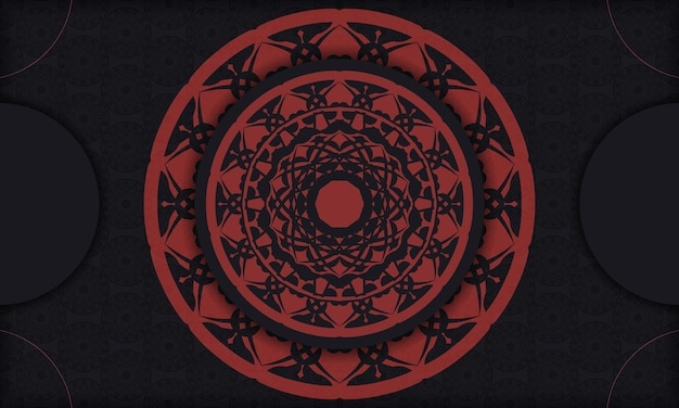 Postal negra con adornos vintage y lugar para su texto y logotipo. fondo de diseño listo para imprimir con adornos vintage.