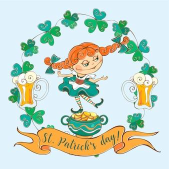 Postal con una niña irlandesa para el día de san patricio.