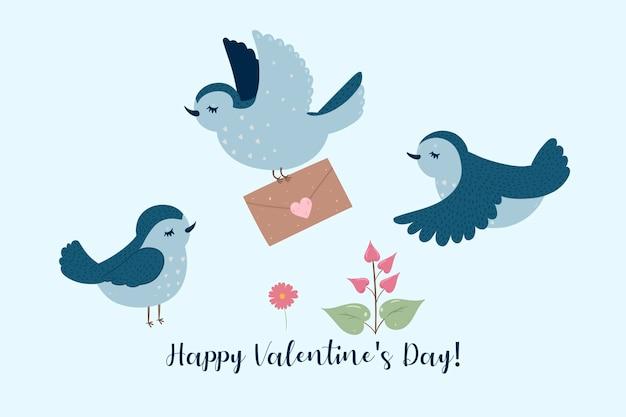 Postal con pajaritos. inscripción feliz día de san valentín