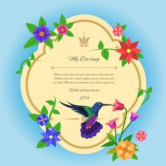Postal del pájaro y de las flores