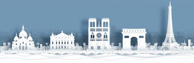Postal panorámica y cartel de viaje de monumentos famosos de parís