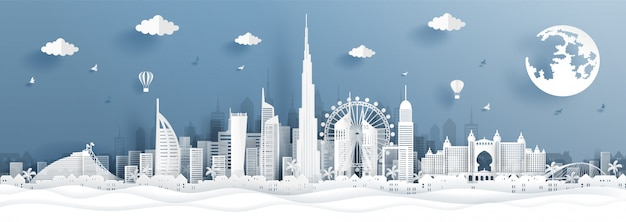 Postal panorámica y cartel de viaje o horizonte de la ciudad en estilo de corte de papel