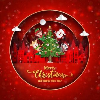 Postal de papá noel y amigo con árbol de navidad en la ciudad