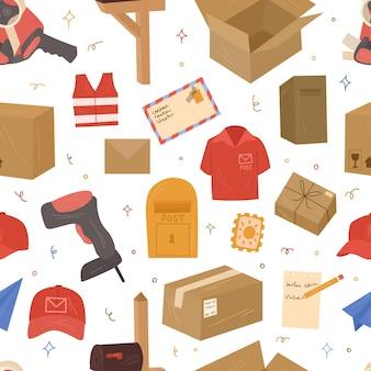 Postal de patrones sin fisuras. buzón, herramientas de envío, buzones y cartas. vector ilustración dibujada a mano.