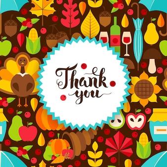 Postal plana del día de acción de gracias. ilustración de vector de plantilla de vacaciones de otoño.