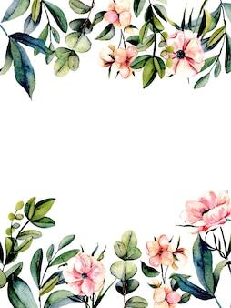 Postal de plantilla con flores de anémona rosa y ramas de eucalipto
