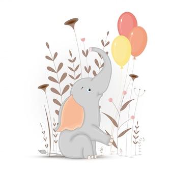 Postal de regalo con animales de dibujos animados elefante. fondo floral decorativo con ramas y plantas.