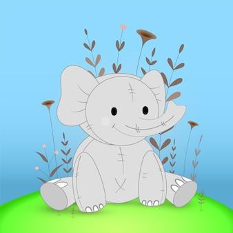 Postal de regalo con elefante de animales de dibujos animados. fondo floral decorativo con ramas y plantas.