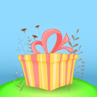 Postal de regalo con regalo de animales de dibujos animados. fondo floral decorativo con ramas y plantas.