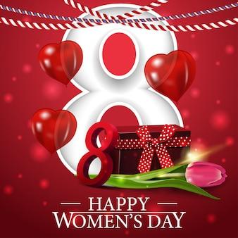 Postal roja de felicitación para el día de la mujer.