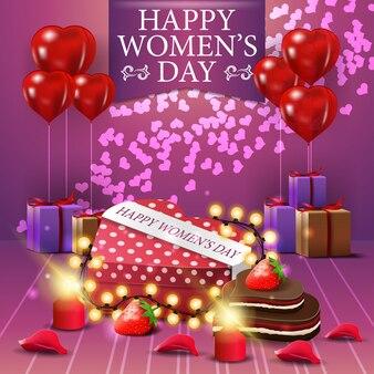 Postal rosa de felicitación para el día de la mujer con blloon snd regalos