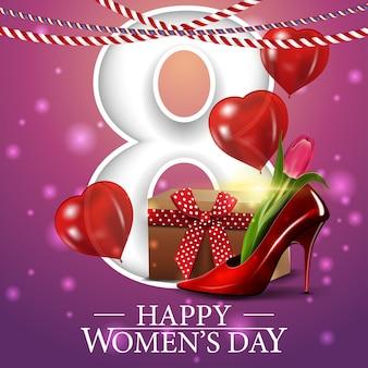 Postal rosa de felicitación para el día de la mujer.