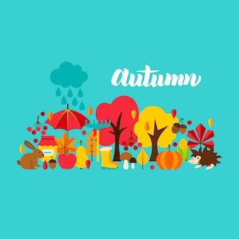 Postal de saludo de otoño. ilustración de vector. concepto de temporada de otoño.