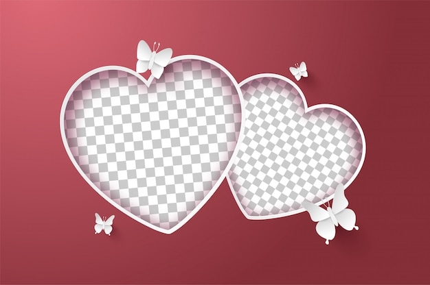 Postal de san valentín, mariposa alrededor del marco en forma de corazón en blanco en rosa