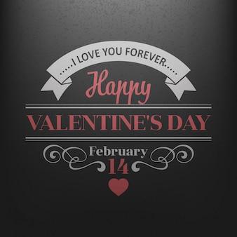 Postal de la tipografía happy valentine day en una pizarra.