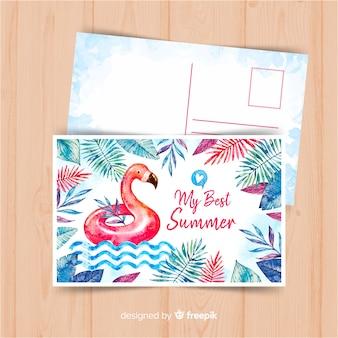 Postal de vacaciones de verano en acuarela