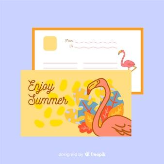 Postal de vacaciones de verano dibujada a mano