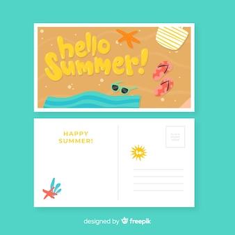 Postal de vacaciones de verano dibujado a mano