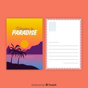 Postal de vacaciones de verano en diseño plano
