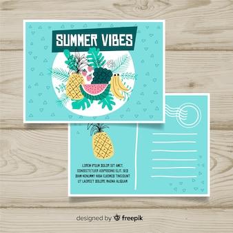 Postal vacaciones de verano frutas