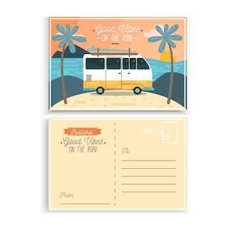 Postal vacaciones de verano furgoneta