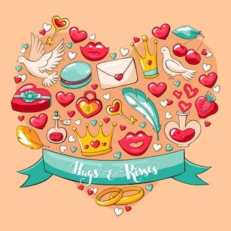 Postal del vector del día de tarjeta del día de san valentín.